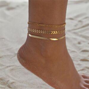 3pcs/set Summer Gold Snake Chain Leaf Anklets Women Bracelet Foot Beach Holiday