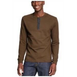 3.1 Phillip Lim for Target Henley Long Sleeve Shirt Brown Men Small Casual