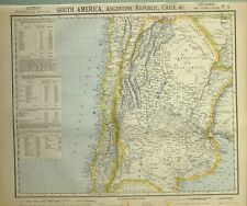 1883 LETTS MAP SOUTH AMERICA ARGENTINE REPUBLIC CHILE POPULATION VALPARAISO