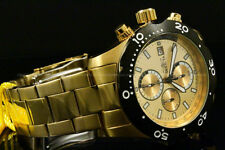 Invicta 45mm SEA SPECIALTY Gold Dial Chrono 18 K Gold Plated S.S Bracelet Watch