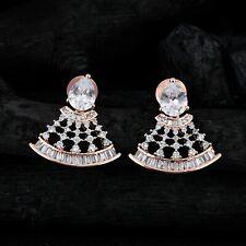 Fan Shaped Paved Earrings White CZ Dangle Drop Ear Stud Jewelry For Women Gift