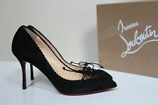 8 / 38.5 Christian Louboutin Scalopump Black Suede Pointed Toe Lace up Pump Shoe