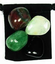 FOR THE HEALER Tumbled Crystal Healing Set = 4 Stones + Pouch + Description Card