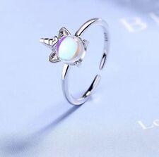925 Sterling Silver Unicorn Moonstone Ring Adjustable Ring Band Thumb Finger