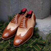 Handmade Men's Brown and Beige Wing Tip Brogues Style Dress/Formal Oxford Shoes