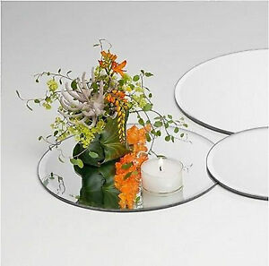 10 x Round Glass Mirror Plates Wedding Reception Table Party Occasion 30CM New