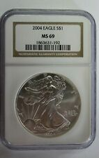 2004 1 oz Silver American Eagle Graded NGC MS69