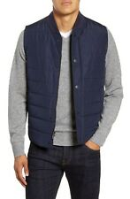 Nordstrom Signature Quilted Vest Large Mens Zip Snap Button Sleeveless Navy NWT