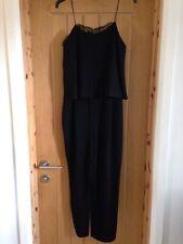 Ladies Zara Black Jumpsuit Strappy Lace Trim Size S Bloggers Fav