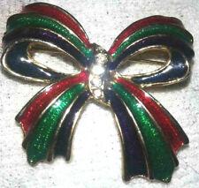 pretty christmas bow clear rhinestone enameled red green purple gold tone brooch