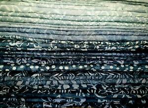 Batik Cotton Quilting Sewing Craft Fabric Metres Fat Quarter Shades of Denim