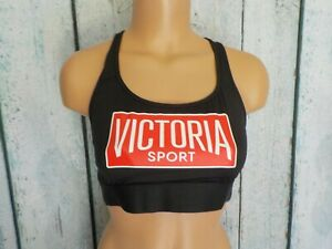 S/P Victoria's Secret VSX Sport Strappy Unlined Racerback Athletic Bra Black Nwt