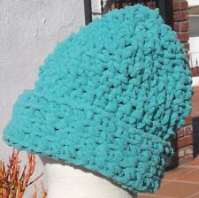 BLUE  CHUNKY SOFT YARN WEAR IT 2 WAYS SLOUCH HAT HAND CROCHETED FREE SHIPPING