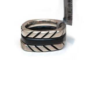 NWT Mens DAVID YURMAN Chevron 3 Stack Ring in Black Titanium & Silver Size 12