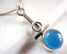 Blue Chalcedony Necklace 925 Sterling Silver Oval Corona Sun Jewelry