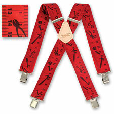 "Brimarc Mens Braces Heavy Duty Suspenders 2"" 50mm Wide Red Tape Braces"