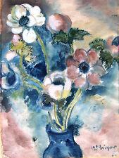 Adolf büger 1885-1966 Munich/acuarela still vida con flores en un jarrón firmado