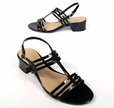 Womens Ralph Lauren Patent Leather Becki Strappy Heels Sandals 7 Black NWT