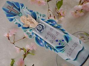 Taufkerze geschnitzt blau grün mit Schutzengel Taufkerze Junge handmade