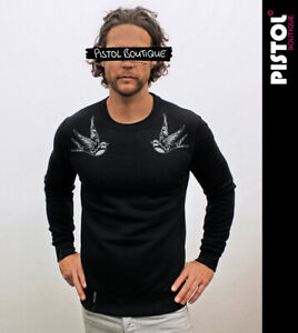 Pistol Boutique men's Black SHOULDER TATTOO BIRDS SWALLOWS Classic Sweatshirt