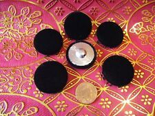 6 Velvet Fabric Covered Buttons Black. Metal loop shank. size 40mm.