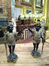 Pair Of Vintage Heavy Cast Blackamoor Candle Holders