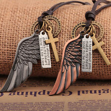 Vintage Mens Leather Chain Necklace Alloy Wing Cross Tag Rings Pendants Necklace