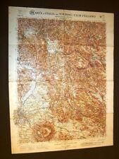 Grande carta geografica del 1909 Roma, Guarcino, Palombara, Rieti Lazio T.C.I.