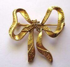 broche bijou style vintage couleur or noeud cristaux diamant *3505