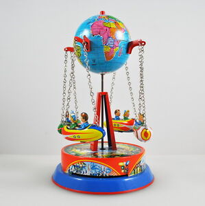 Swing Ride With Globe - Jw - Made IN Western Germany - Tin Toy