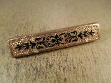 Antique Victorian Gold Filled & Black Enamel Brooch, Unsigned, 5.2g