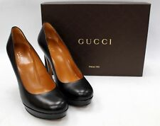 Authentic Boxed GUCCI Black All Leather Heels Pumps Shoes UK 6.5 / 39.5 - C04