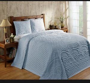 Vintage Better Trends baby blue chenille queen bedspread 100%cotton shams