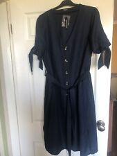 Ladies Navy Button Midi Dress Size 16 New