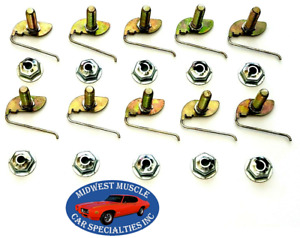 "Ford 1/2""-5/8"" Body Fender Door Quarter Trim Moulding Molding Clips Nuts 10pcs F"