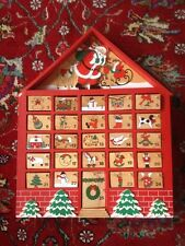 Vintage Wooden Wood Advent Calendar 25 Ornaments Primitive Christmas Folk Art