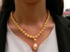 "Genuine 8mm Yellow South Sea Shell Pearl Drop Pendant Necklace 18"" AAA+"