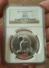 2011 Canada Wolf 1 oz .9999 pure Silver Coin WildLife Series - NGC MS63