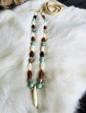 Native American Coyote Tooth Buffal Bone Necklace Silver Turquoise Bead Cherokee