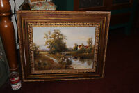 Master Oil Painting Signed Country Cottage Water Stream Trees