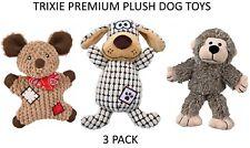 *NEW* 3 PACK TRIXIE PREMIUM SOFT PLUSH SQUEAKY DOG PUPPY TOYS MOUSE MONKEY DOG
