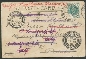 IRELAND 1901 TURF CARRIER USED POSTCARD DONAGHADEE STAMP CREASES TORN RARE! £15