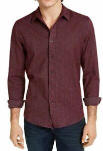 Calvin Klein Mens Dress Shirt Gray Size Medium M 15-15 1/2 Slim Fit $79 #102