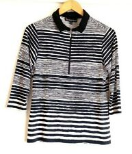 Birdee Sport Womens Golf Clothing Top Polo Zipper Long Sleeved Stripes Size M