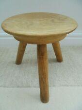 Vintage elm 3 leg milking stool, craftsman made, plant candle stand