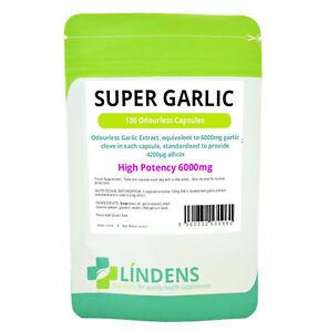 Super Garlic 6000mg Odourless - High Strength 120 capsules Lindens