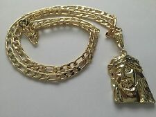 """Jesus Christ Gold Plated Pendant with 26"""" Necklace New God Face"""