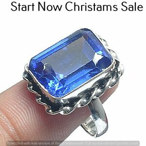 Blue Topaz Gemstone Ring 925 Sterling Silver Plated Ring US Size 7.5R-4165