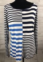 Chaps Shirt Women's Blue White Stripe  Long Sleeve Top NWT Size XL          (B)