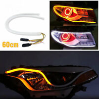 1pcs 60cm LED Light Strips Tube Switchback White/Amber Flexible DRL Turn Signal